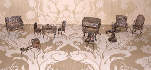 1: 11pc Antique Silver Furniture Miniatures