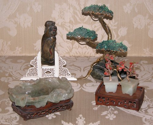 3: Oriental Figure on Ivory Stand, 2 Miniature Jade Tre