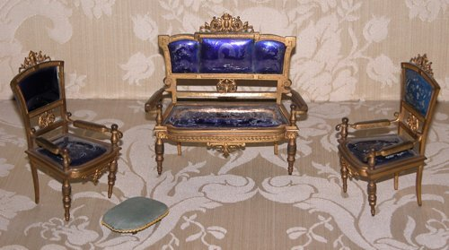 7: Four Piece Ormolu and enamel miniature parlor suite
