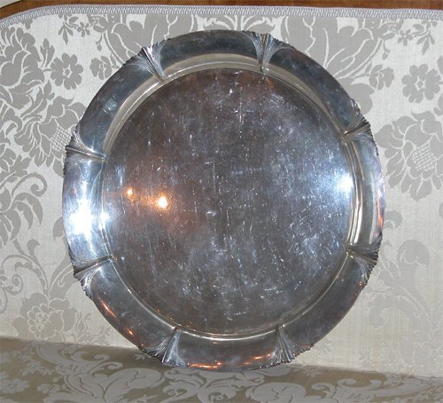 11: Silver Tray with Leaf Medallions