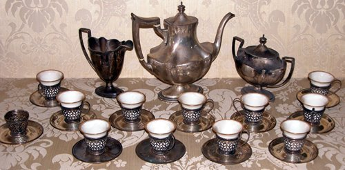 13: 3-Pc Coffee Set w/11-Silver Mounted Cups/Saucers