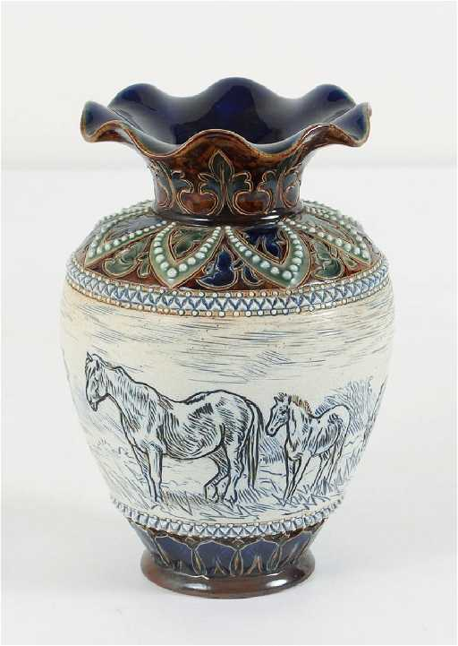 Doulton Lambeth Hannah Barlow Horse Vase With Fluted