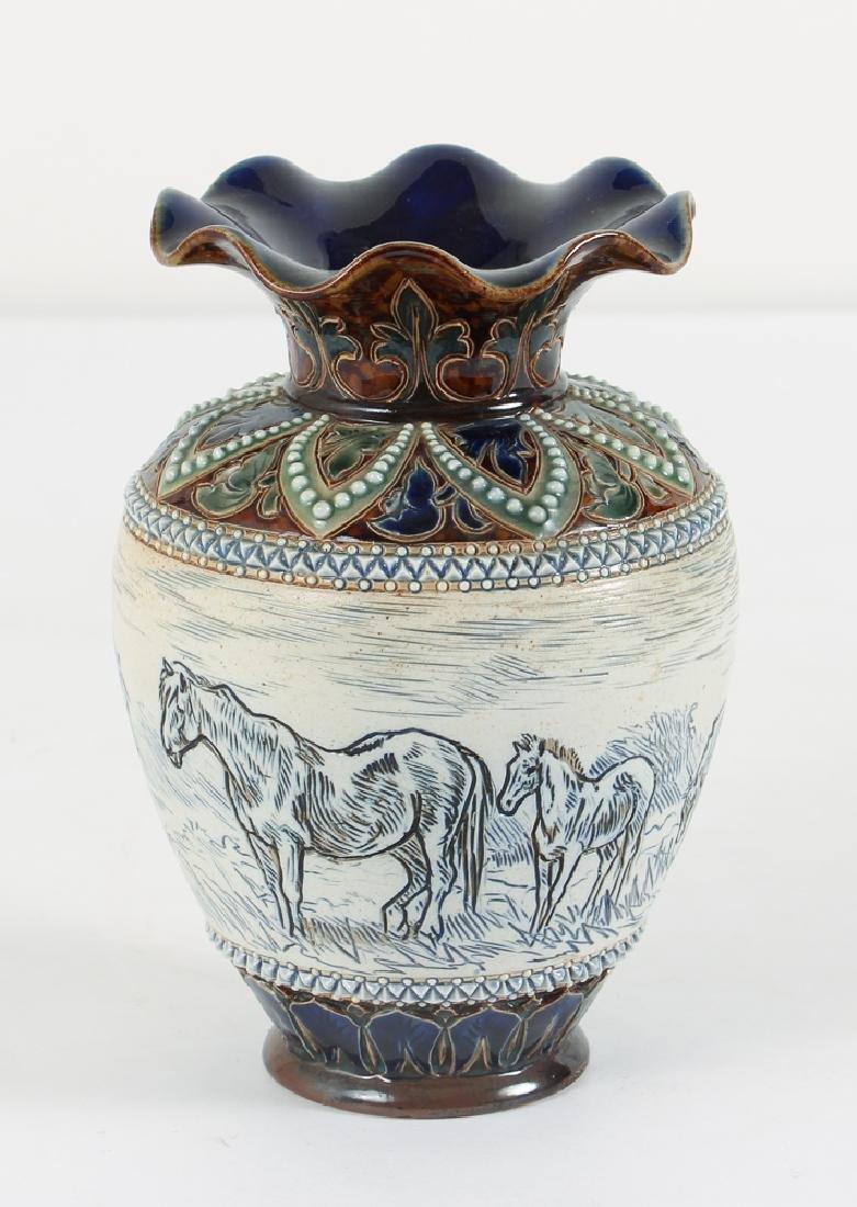 Doulton Lambeth Hannah Barlow Horse Vase with fluted