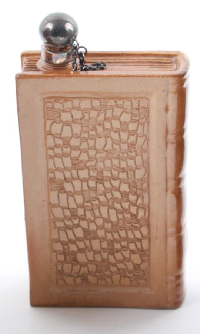 Doulton Lambeth Stoneware book shaped spirit flask