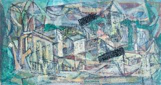 Mixed Media Cubist Cityscape Painting