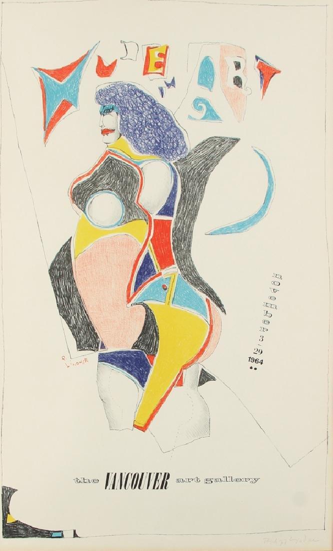 Richard Lindner pencil signed poster 1964