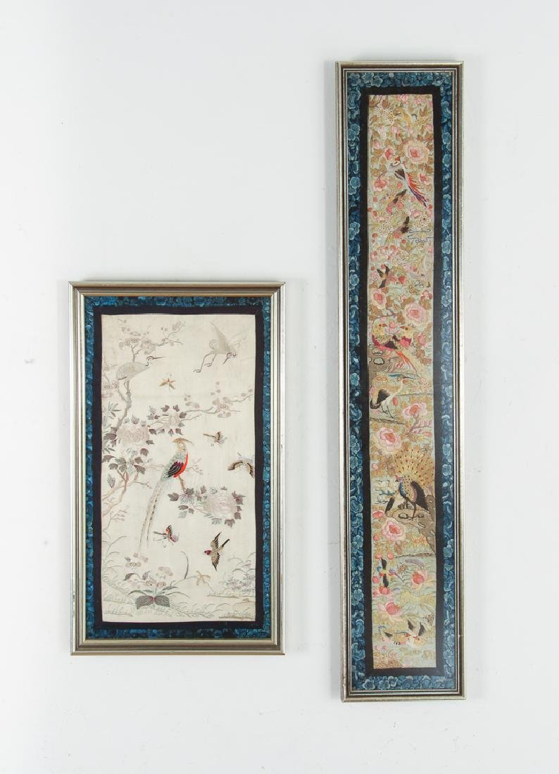 Two Antique Framed Chinese Embroidery Panels