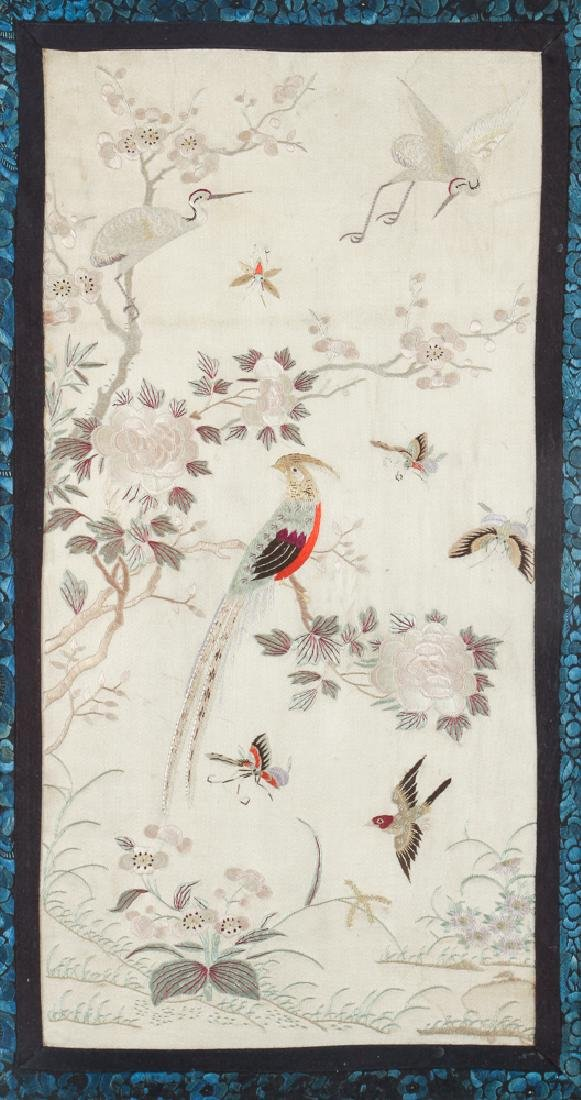 Two Antique Framed Chinese Embroidery Panels - 2