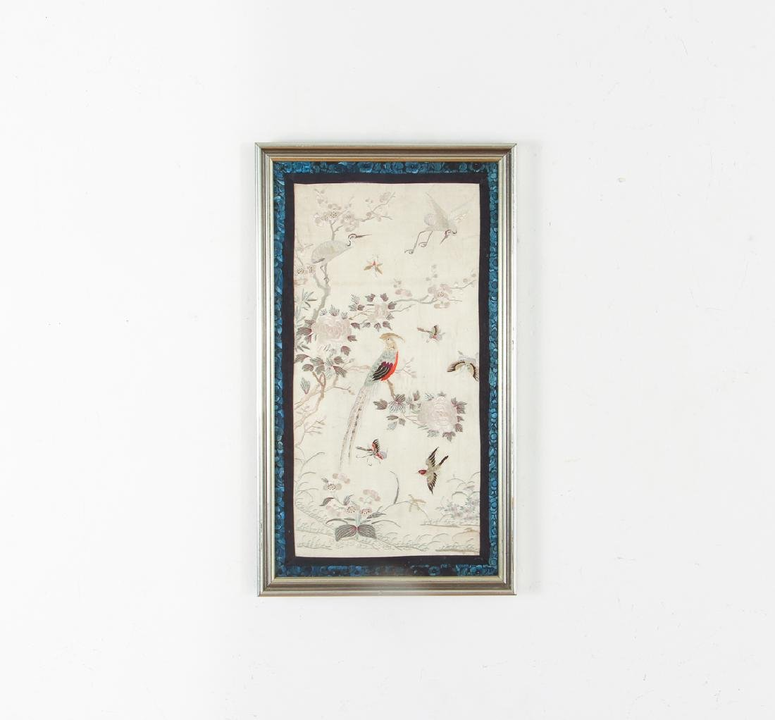 Two Antique Framed Chinese Embroidery Panels - 3