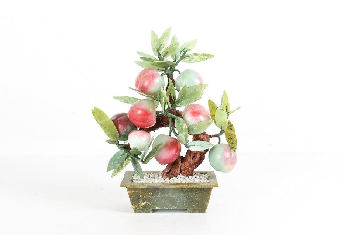 Vintage Chinese Carved Mineral Peach Tree