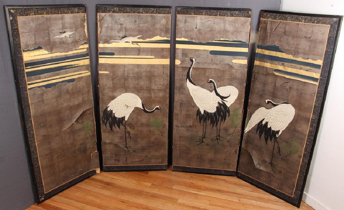 Japanese Four Panel Screen with Cranes