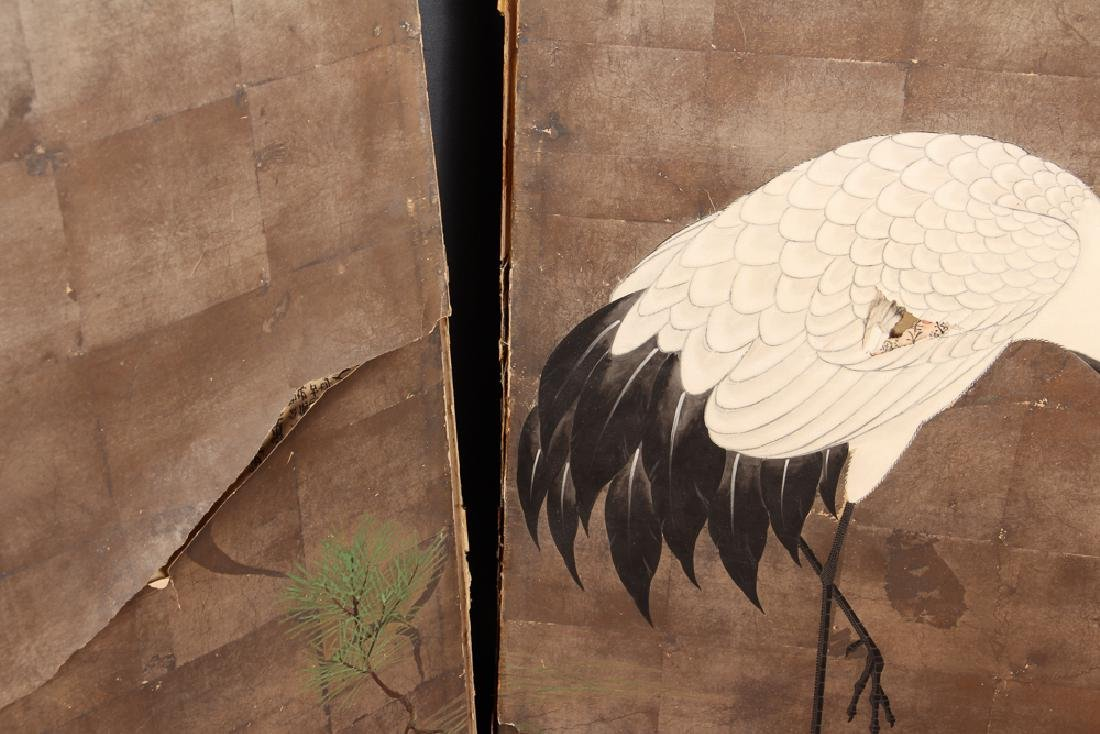 Japanese Four Panel Screen with Cranes - 4