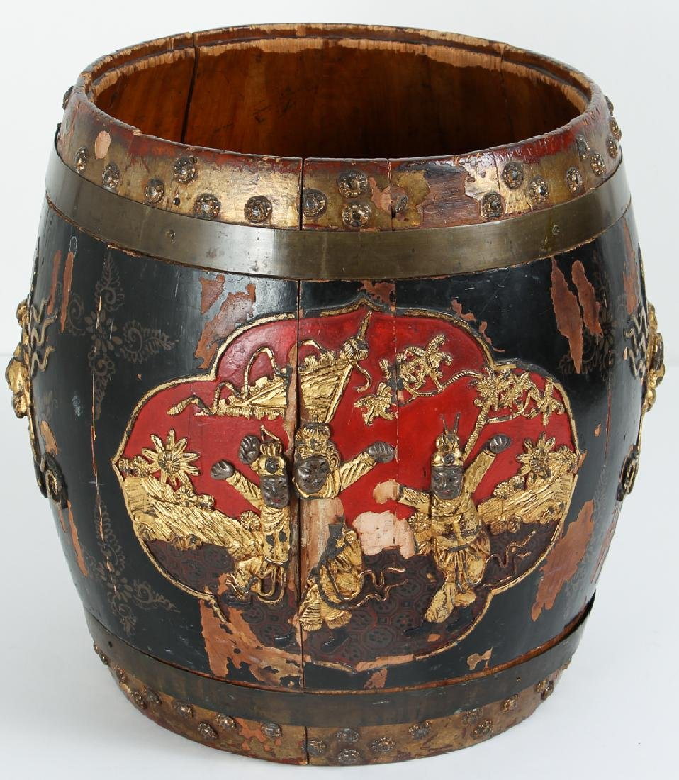 Chinese Lacquer Barrel Shaped Storage Stool