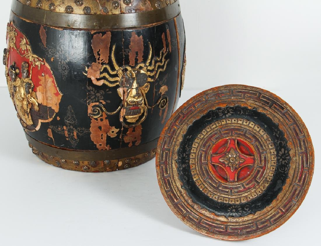 Chinese Lacquer Barrel Shaped Storage Stool - 5