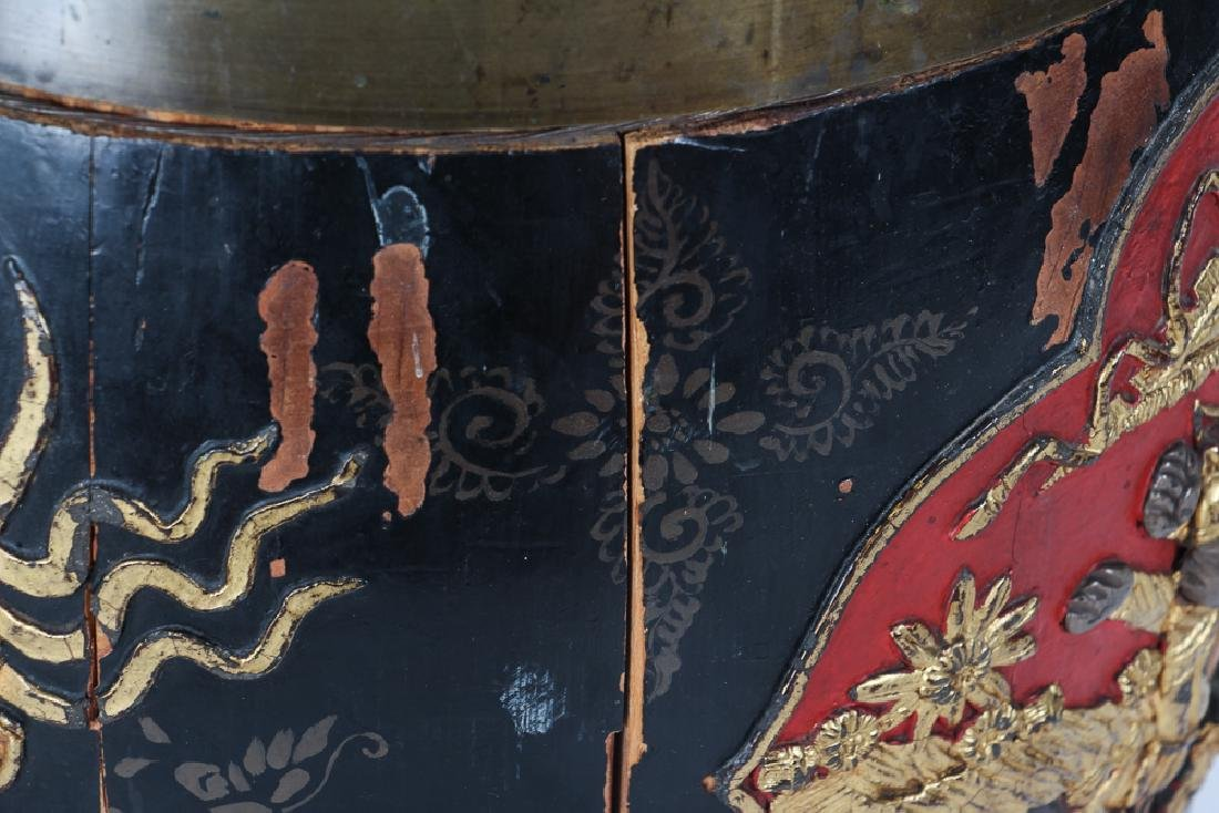 Chinese Lacquer Barrel Shaped Storage Stool - 6