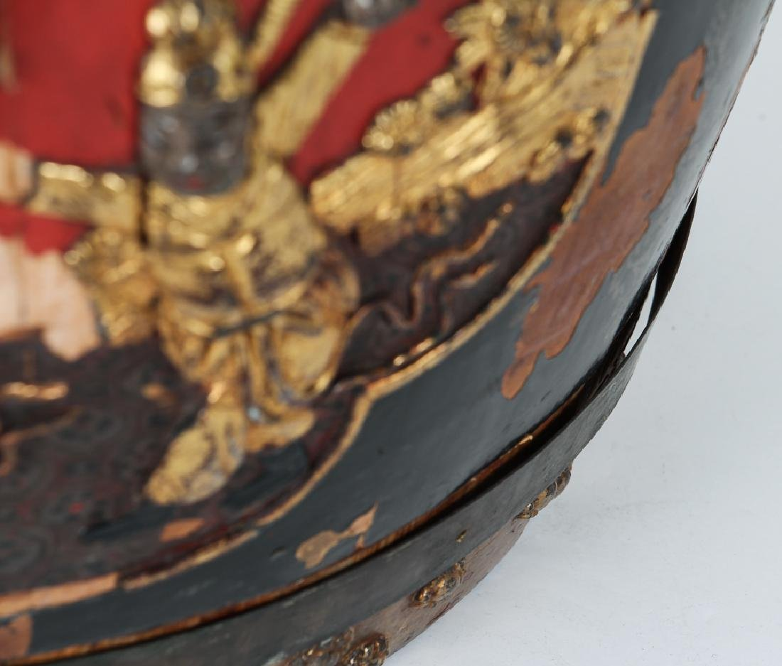 Chinese Lacquer Barrel Shaped Storage Stool - 9