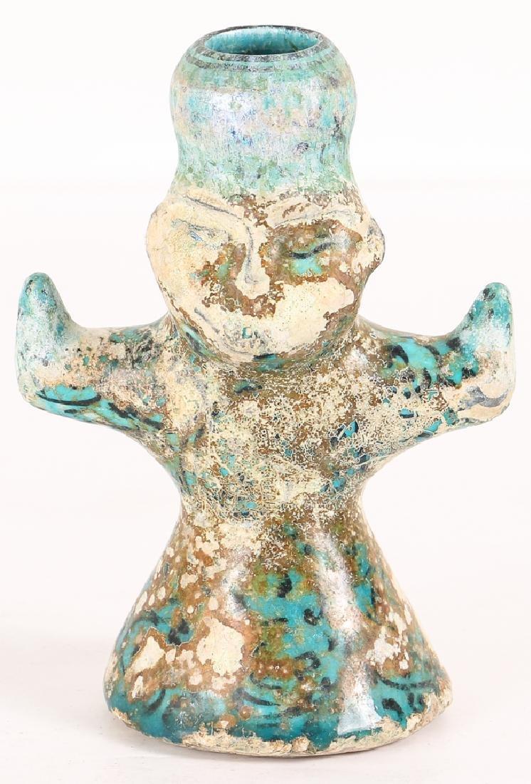 Iranian Sultanabad Ceramic Candle Bearer Figure