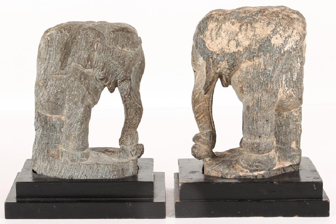 2 carved stone Indian Elephant Architectural elements
