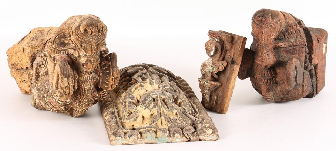 4 Indian Architectural Wood Remnants