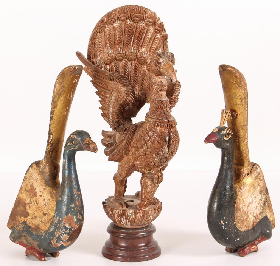 2 Indian Polychromed Peacocks with carved wood Huma
