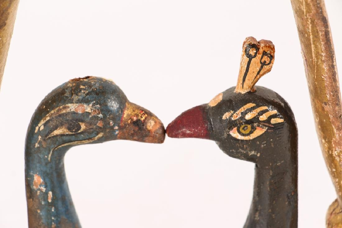 2 Indian Polychromed Peacocks with carved wood Huma - 4
