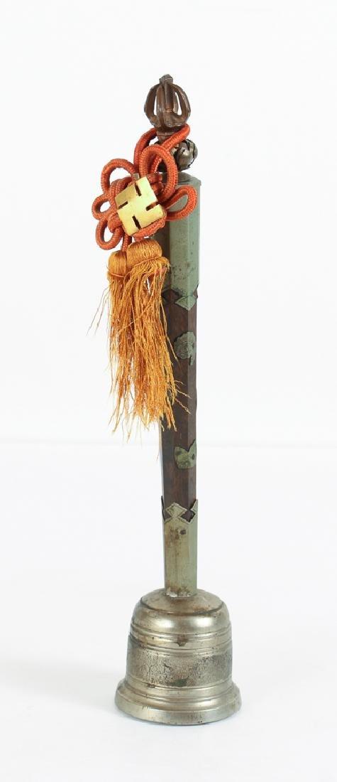 CHINESE TIBETAN BRASS and Wood VAJRA BELL