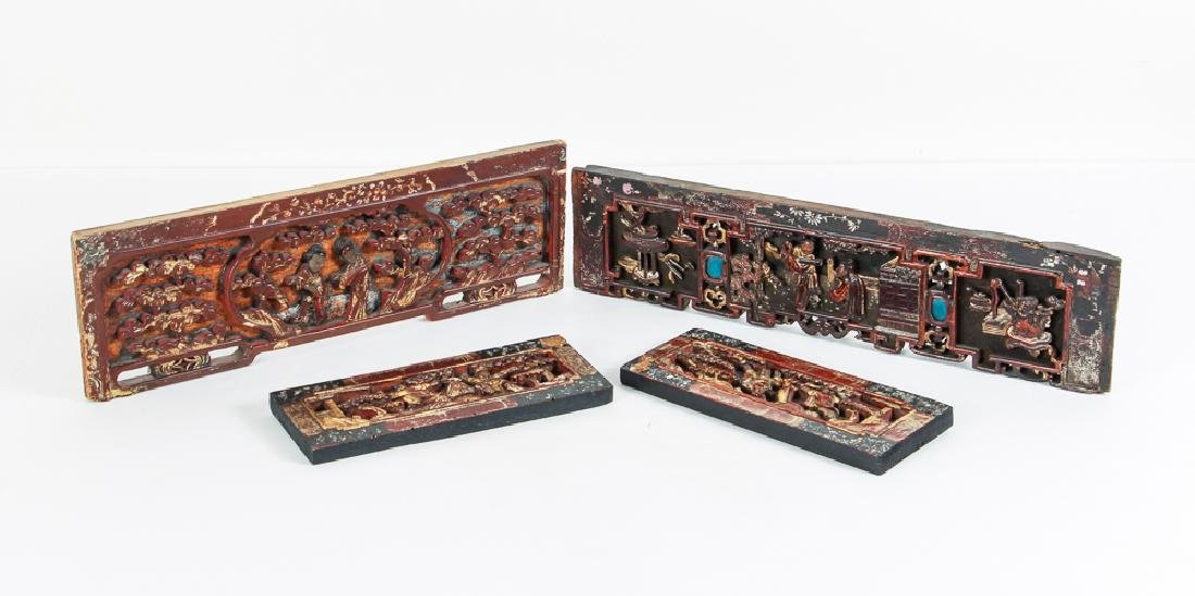 Four Antique Chinese Lacquer Architectural Elements