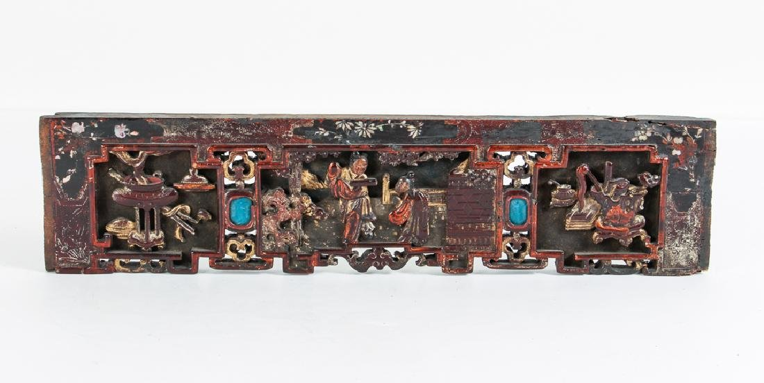 Four Antique Chinese Lacquer Architectural Elements - 5