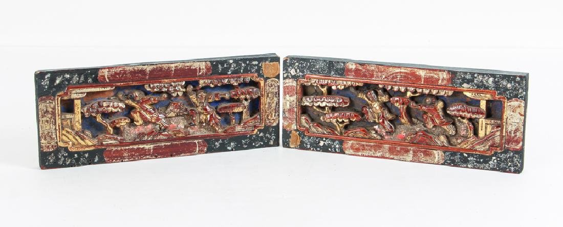 Four Antique Chinese Lacquer Architectural Elements - 7