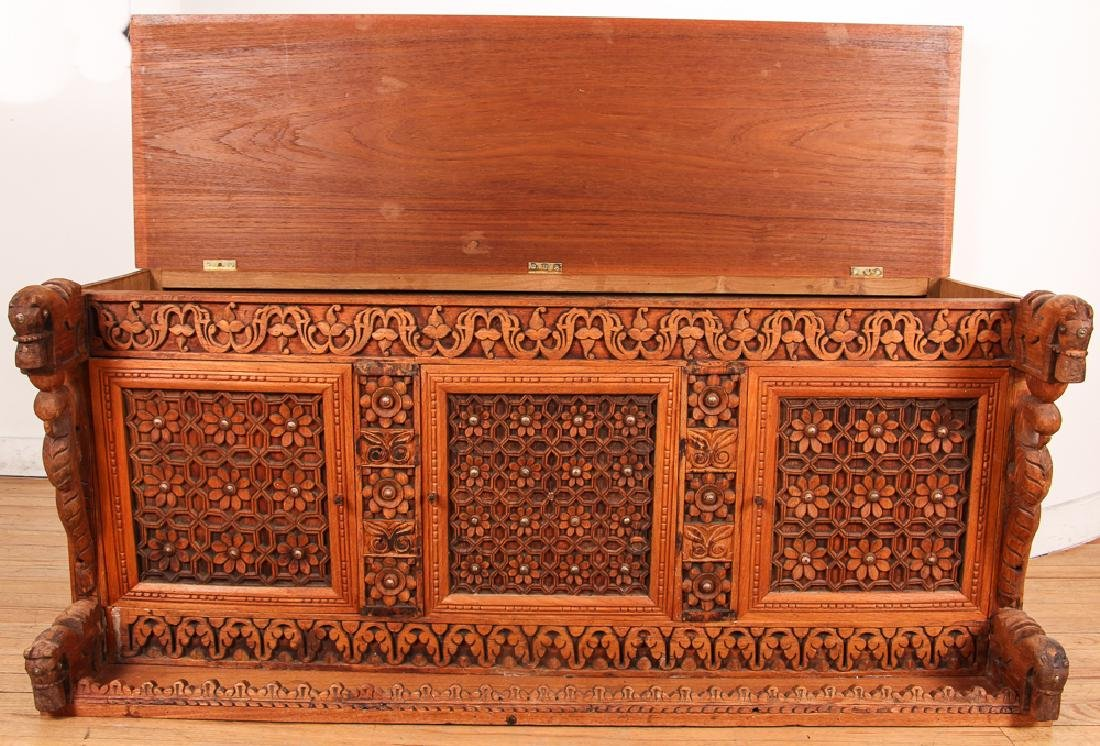 Indian Carved Storage Chest - 2