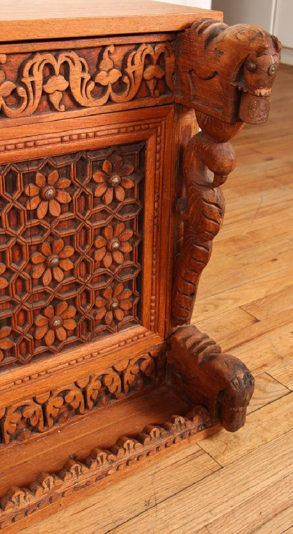 Indian Carved Storage Chest - 3