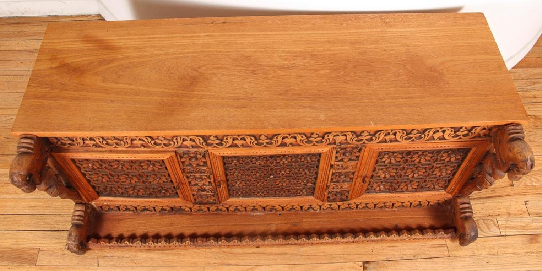Indian Carved Storage Chest - 7