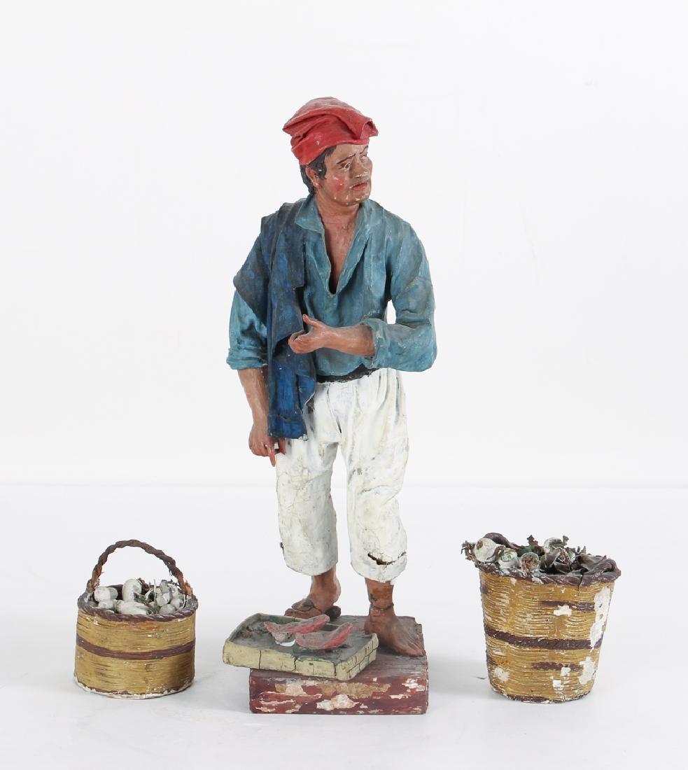 Antique Italian Creche Fishmonger Figure