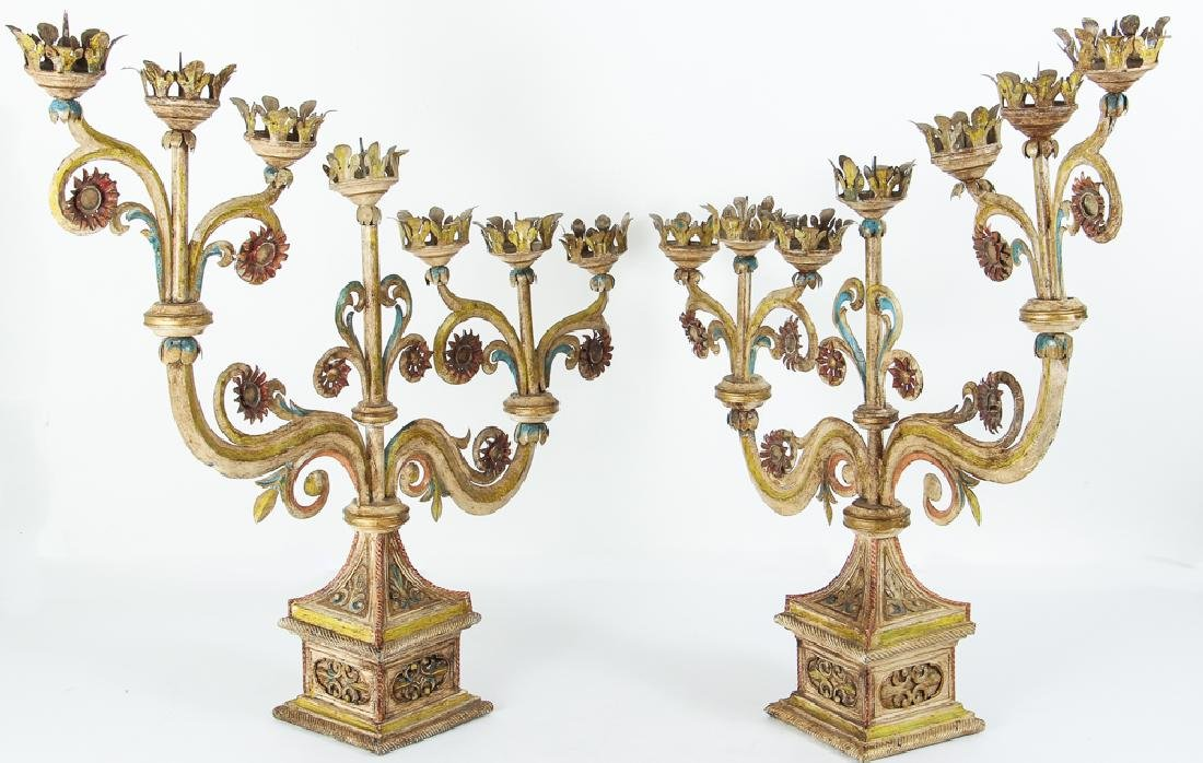 Indian Style Tolle Painted Candelabra