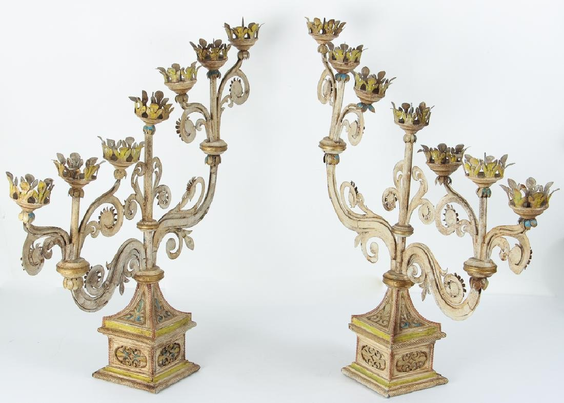Indian Style Tolle Painted Candelabra - 2