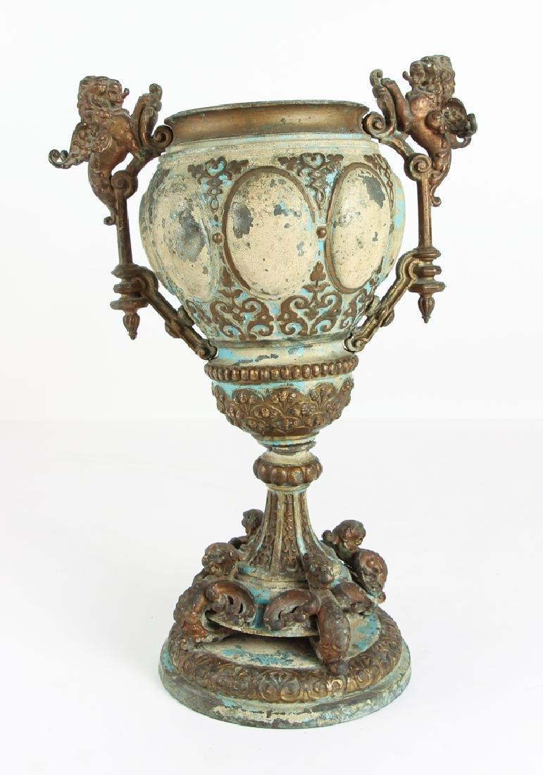 Renaissance Style TOLE AND BRASS PEDESTAL Centerpiece