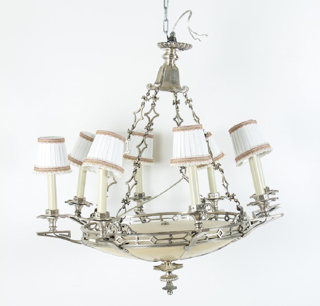 Art Deco Eight Light Chandelier