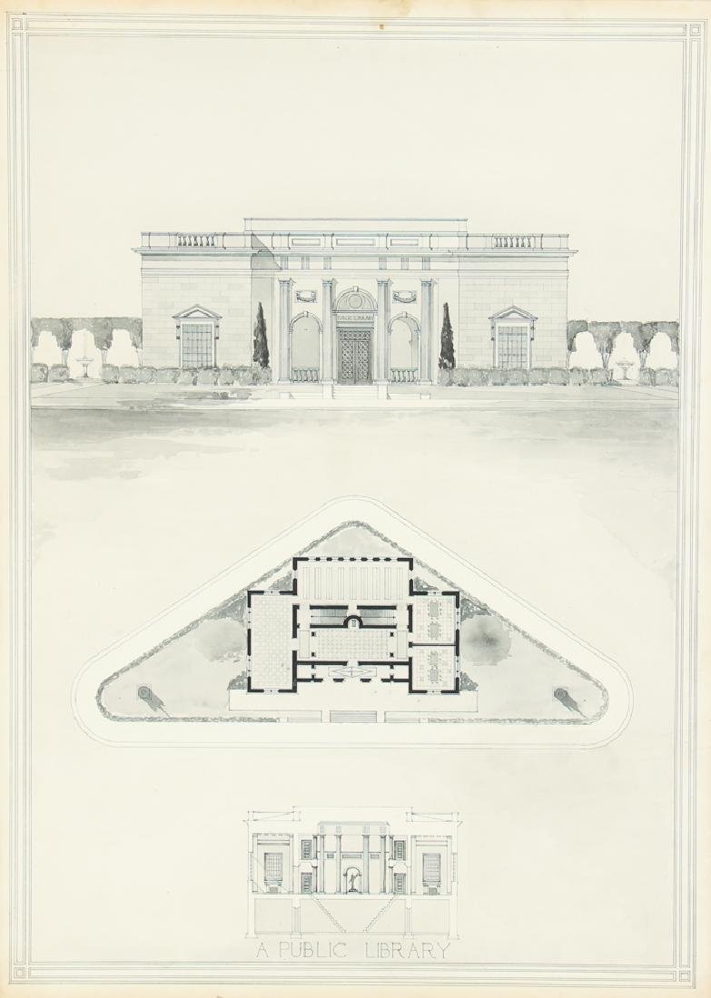 Architects Rendering Of A Library c 1920