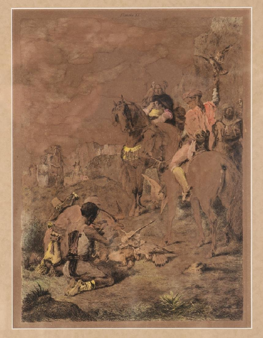 Handcolored Engraving Orientalist Falconer Hunt