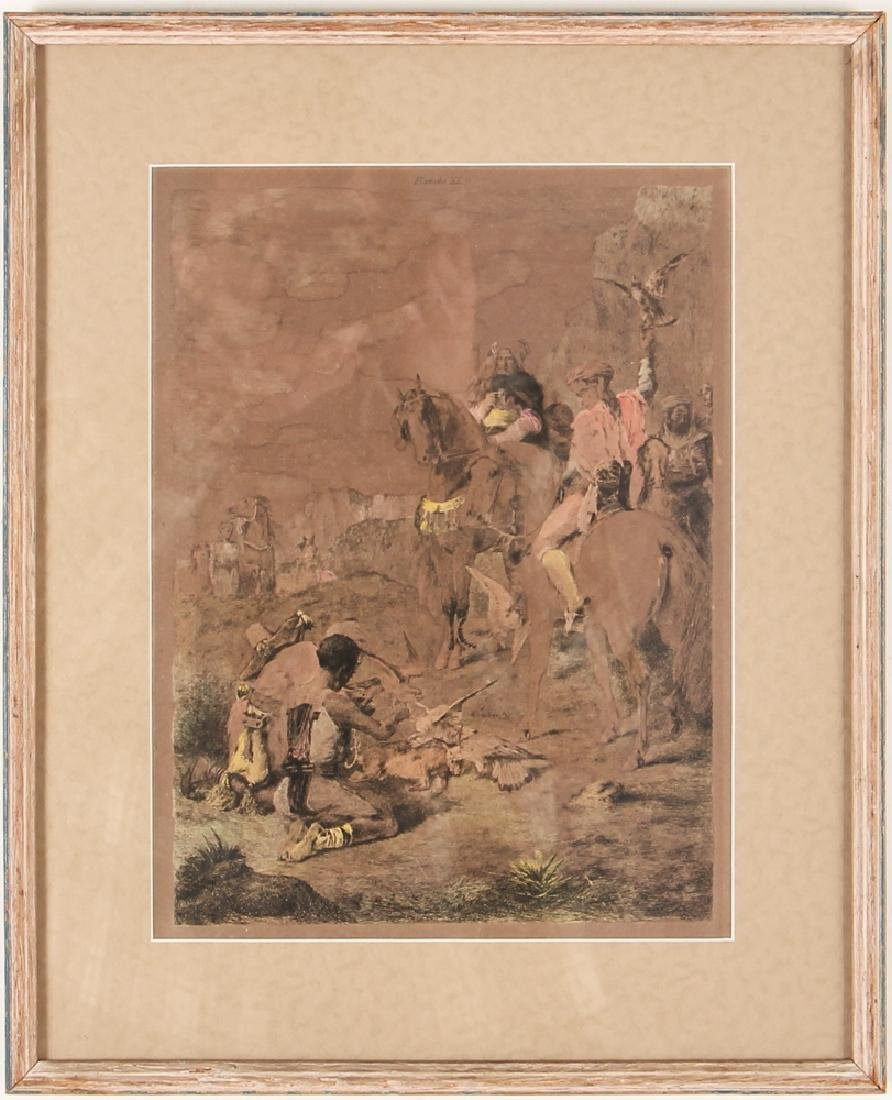 Handcolored Engraving Orientalist Falconer Hunt - 2