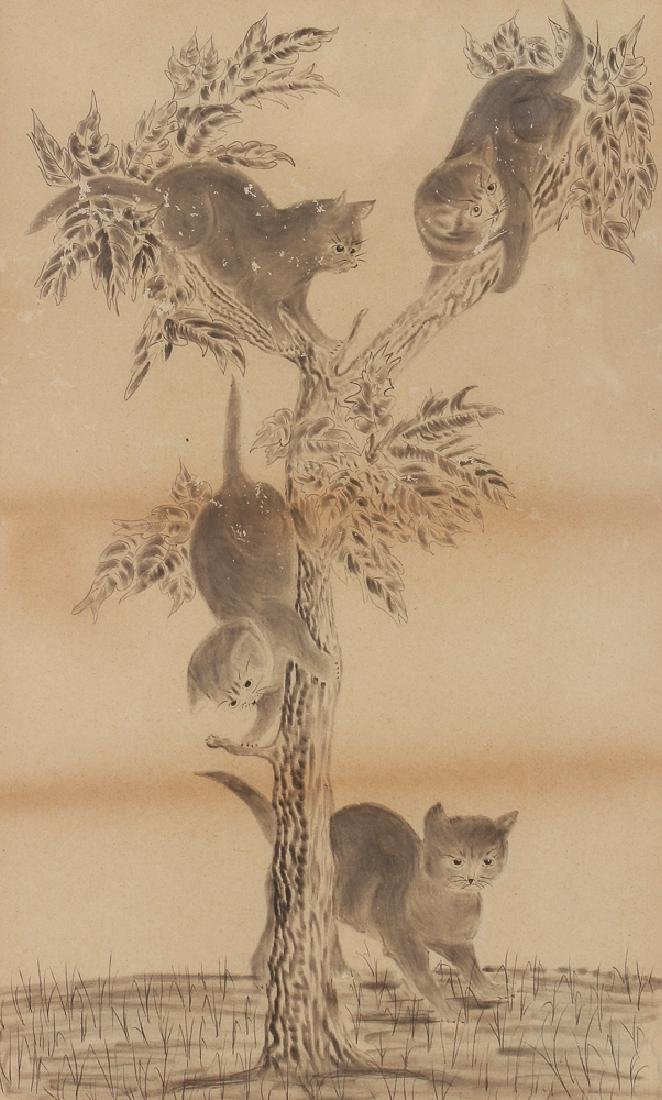 Two Folk Art Drawings of Cats