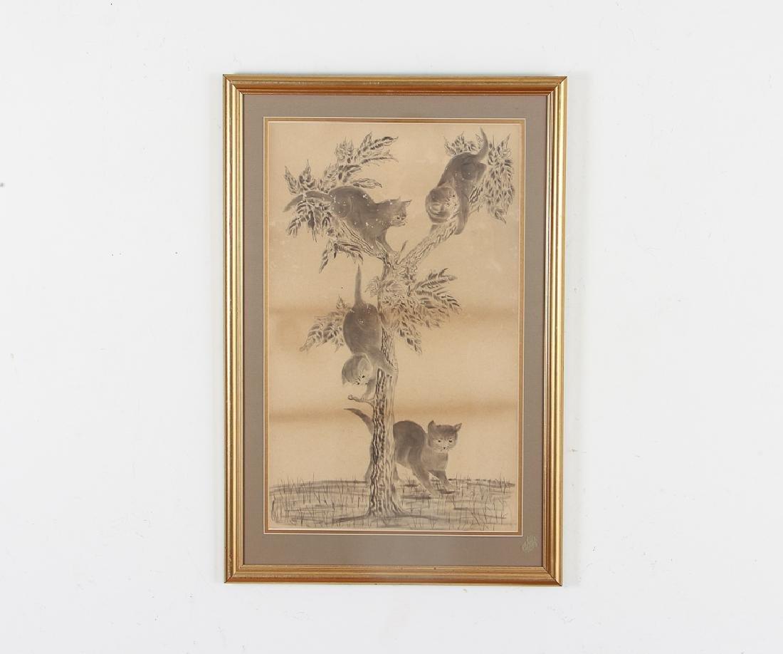 Two Folk Art Drawings of Cats - 2