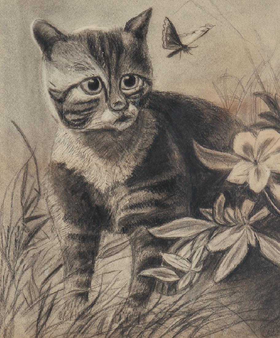 Two Folk Art Drawings of Cats - 6
