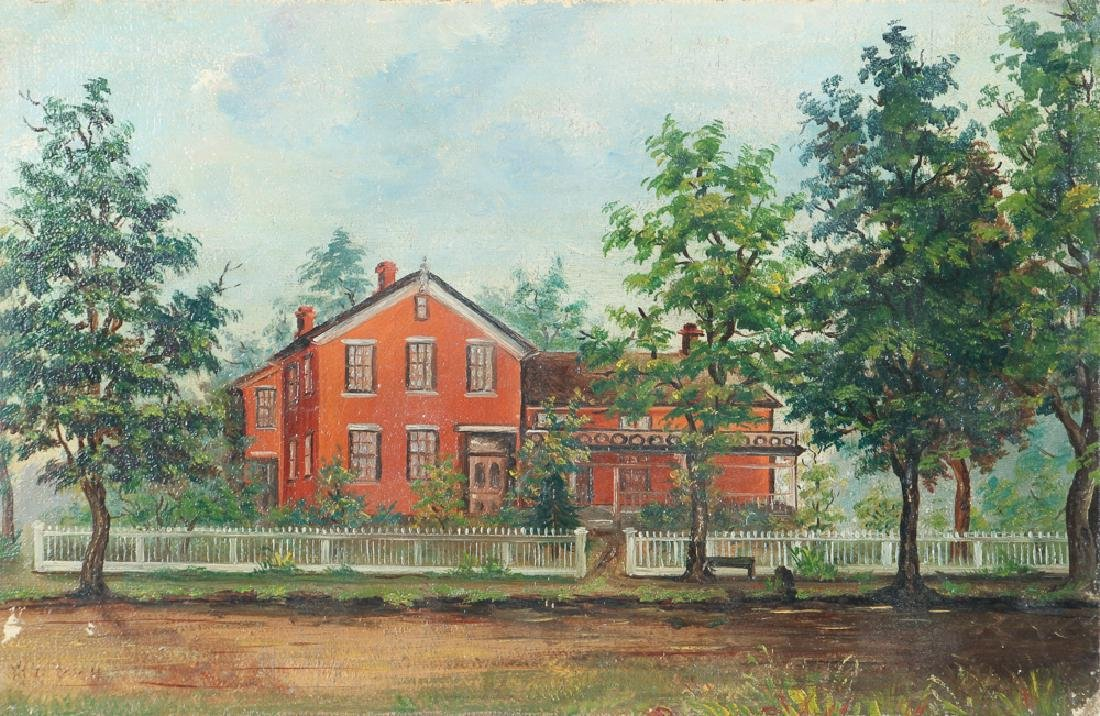 Folk Painting of A Victorian House