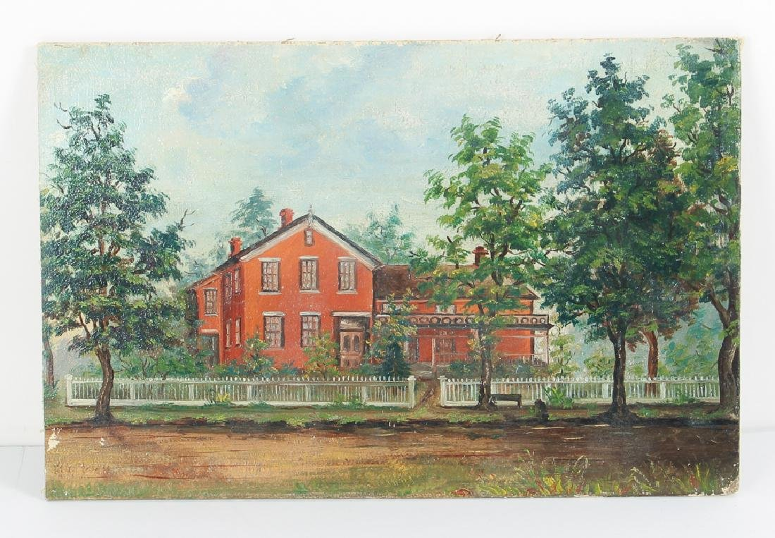 Folk Painting of A Victorian House - 2