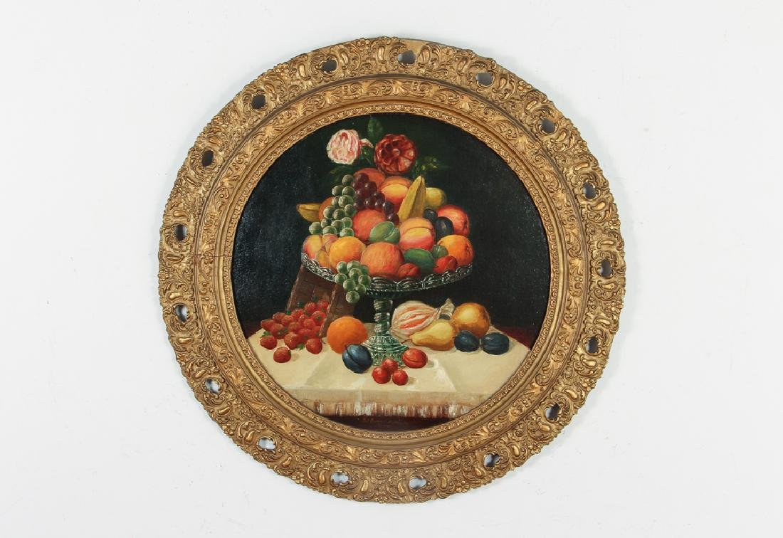 Folk Still Life Painting of Fruit