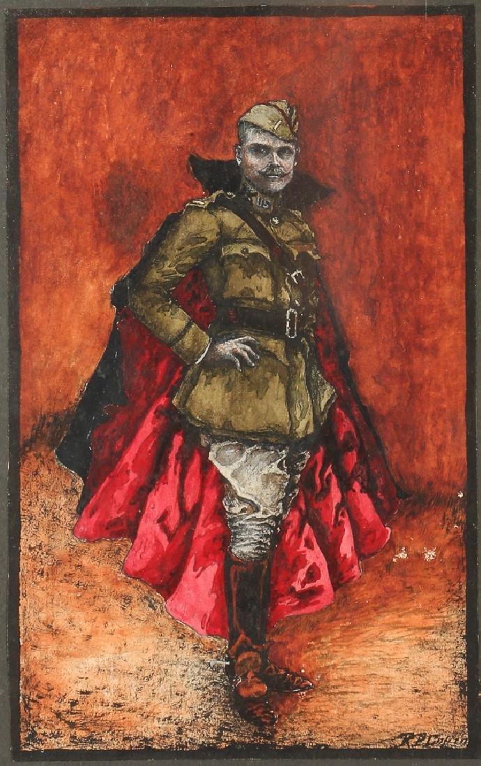 World War One Soldier  Portrait Watercolor