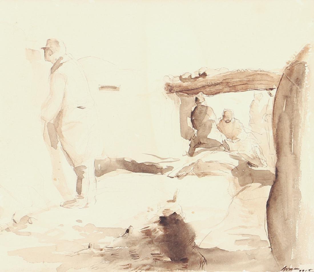 World War One Trench Warfare Watercolor Sketch