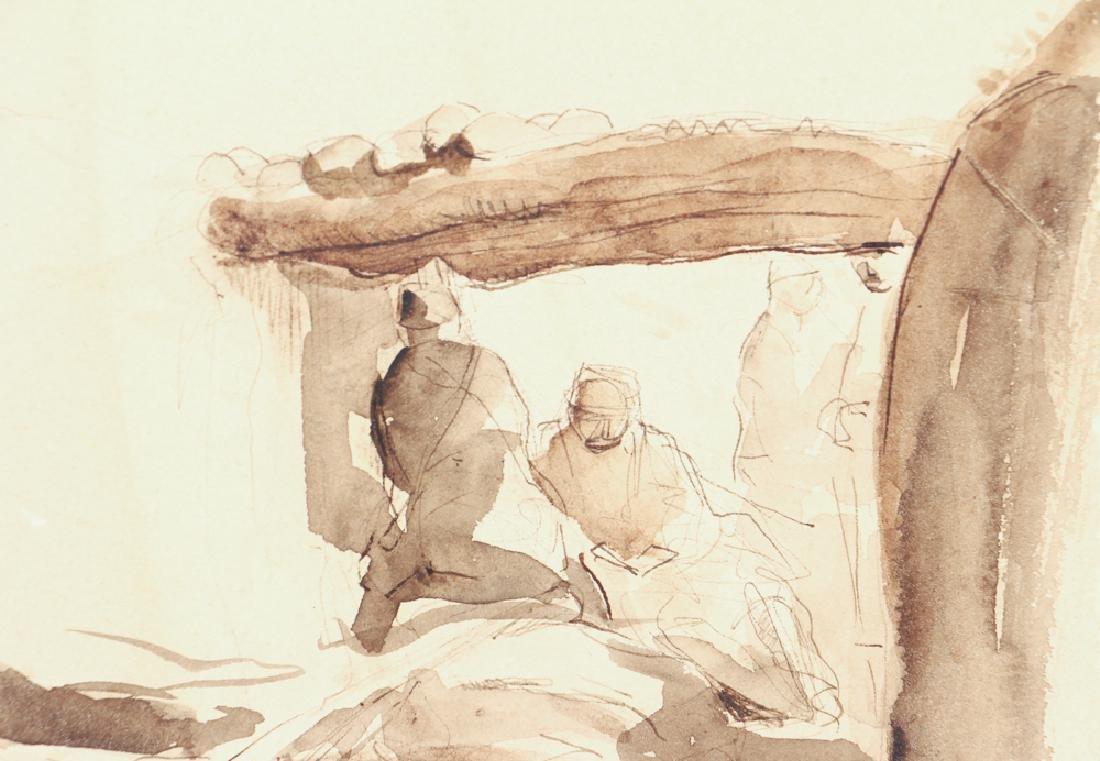 World War One Trench Warfare Watercolor Sketch - 4