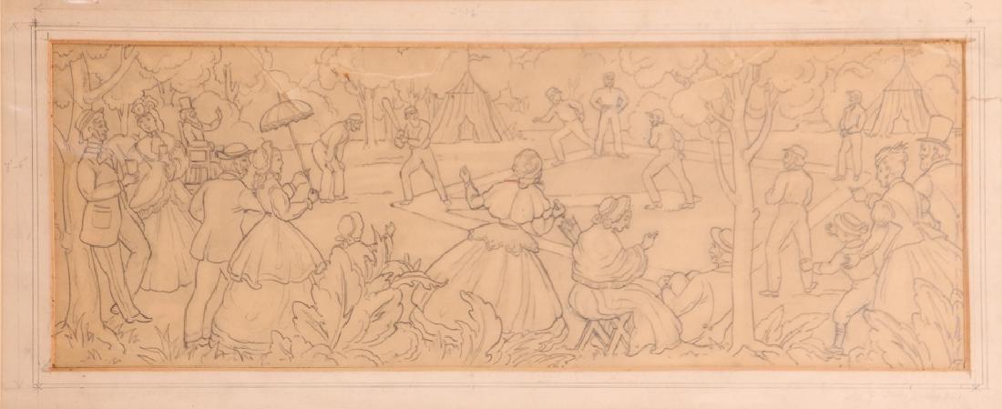 Daniel Putnam Brinley pencil drawing 19th C. Baseball